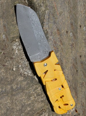 knife systeme a friction manche en buis sculpté-001